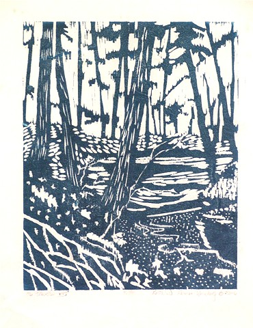 Hand pulled print from woodcut/ monotype