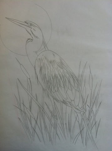 blue heron backpiece sketch