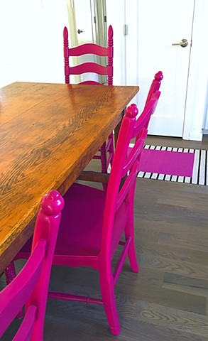 Forward Fuschia chairs in the Kitchen