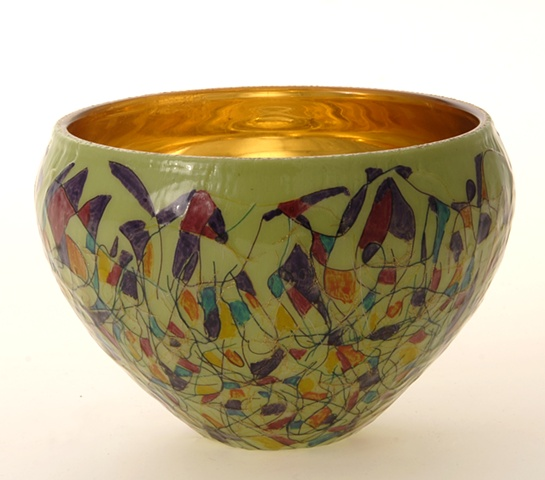 "eglomise, Reverse painting and gilding on glass, 23K Gold Leaf  gilding, ""Mardis Gras"" glass bowl by Jan Maitland, Handpainted Glass Bowl, verre églomisé"