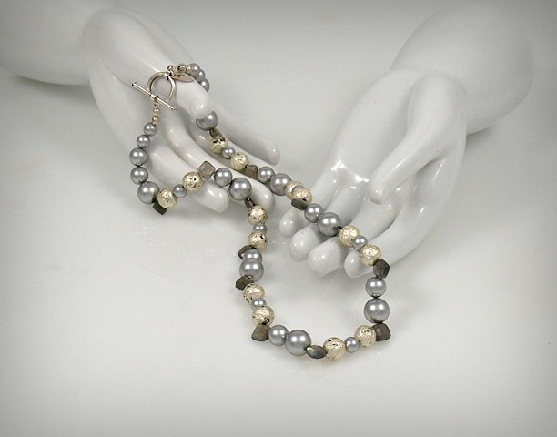 Jan maitland Jewelry, Necklace, white gold on lava, labradorite, Swarovski pearls, 18""