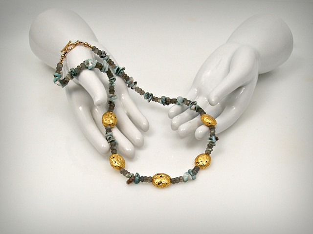 """Impression"" Necklace in 23-Karat Gold Leaf on Lava Stone, Larimar, and Labradorite"