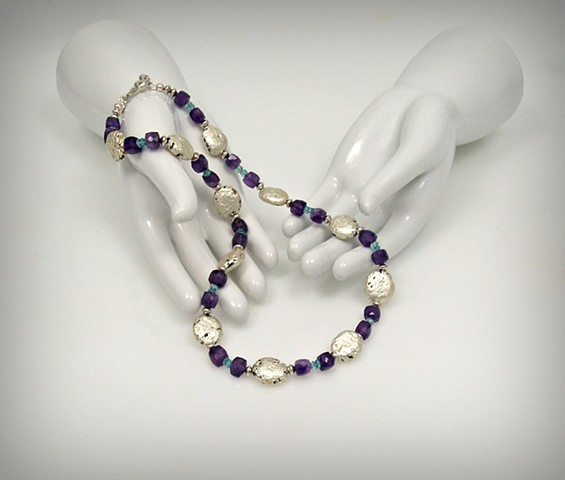 "White Gold Leaf, Amethyst, Necklace, Jewery, ""Awesome Amethyst"" Necklace in White Gold Leaf on Lava, and Amethyst"