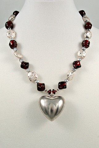 Gilded Jewelry, necklace, lampwork Czech glass, silver leaf over stone, heart necklace, silver heart, red and silver necklace, janmaitland.com, Jan Maitland gilded jewelry,