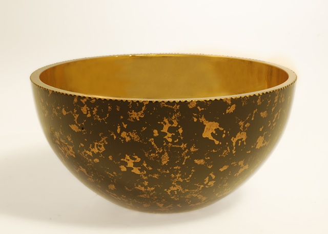 "eglomise,Reverse painting and gilding on glass, 23K Gold Leaf and Black glass bowl, Handpainted, ""Center Stage"" Glass Bowl by Jan Maitland, antique gold painted bowl, verre églomisé, home decor, glass art"