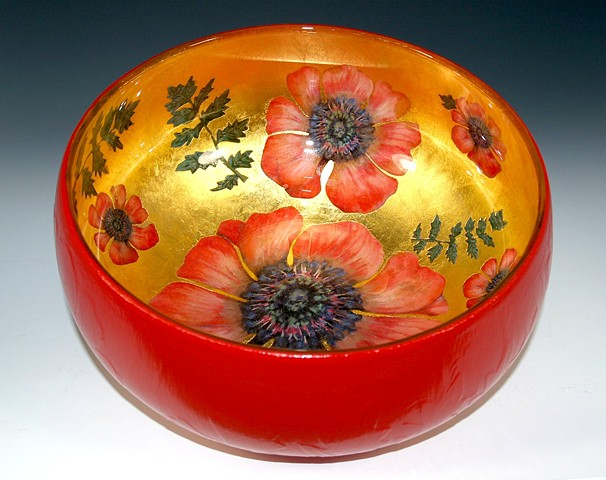 "eglomise, verre églomisé glass bowl, ""Poppy"" by Jan Maitland, 23-Karat Gold Leaf on glass, Gold and Red Glass Bowl, home decor"