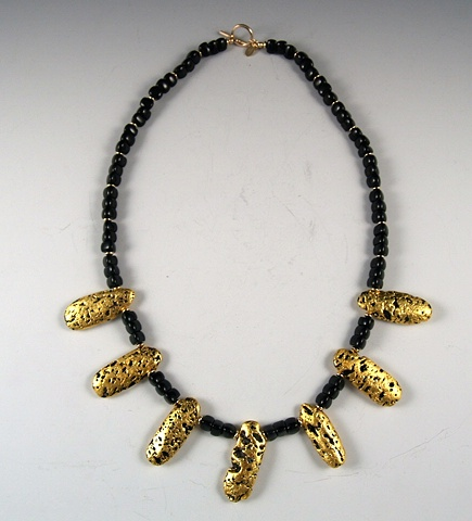 Jewelry, 23-Karat Gold Leaf, Necklace, wearable art, gilded, lava stone, Onyx Stone, Gold Saucer Beads