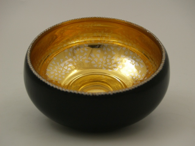 eglomise, Reverse painting on glass, gildedglass, glass bowl, 23-Karat Gold Leaf on glass, hand painted glass bowl, verre églomisé
