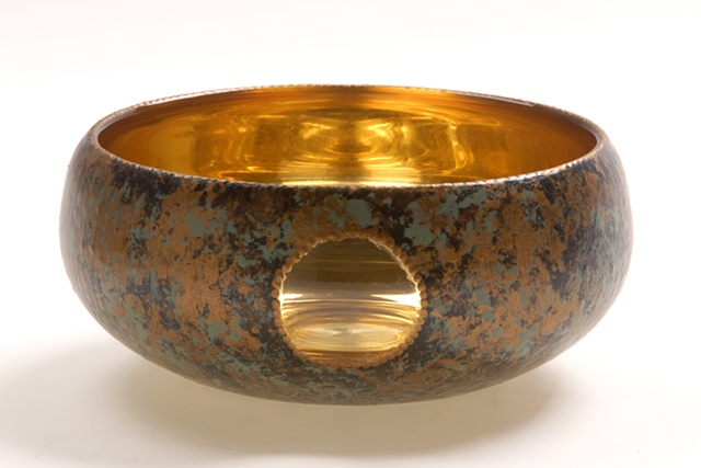 "eglomise, Reverse painting and gilding on glass, gilded glass, ""Gold Moon""glass bowl by Jan Maitland, 23-Karat Gold Leaf on glass, verre églomisé"