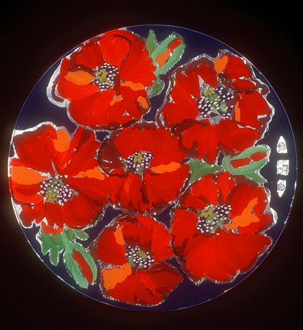 "verre églomisé, gilded glass, reverse painting, hand-gilded, hand-painted, ""Poppies"" Glass Table Top by Jan Maitland, Home Decor"