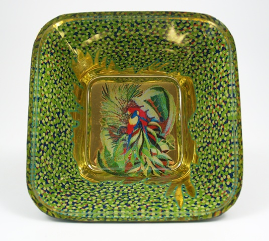 "eglomise, janmaitland, églomisé, Reverse painting on glass, gilded glass, ""Parrots""glass bowl by Jan Maitland,, 23K Gold Leaf, hand painted, home decor, glass art"