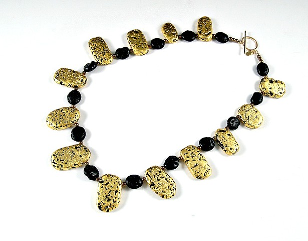 Jewelry, 23-Karat Gold Leaf, Necklace, wearable art, gilded, lava stone,