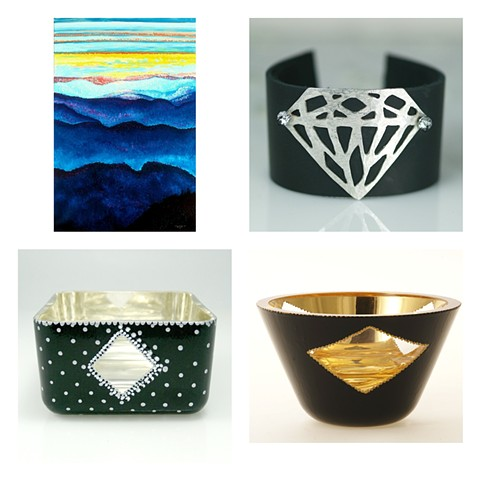 Jan's Gems Blog, Jan Maitland, Oregon Artist, verre eglomise artist, gilded jewelry, gilded glass bowls, gold leaf, gilded gold on glass, reverse painting, pastel artist,