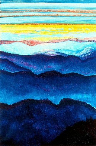 Oil painting, Marys Peak, Oregon, Oregon Artist, Jan Maitland, coastal mountain range, mountains and sky