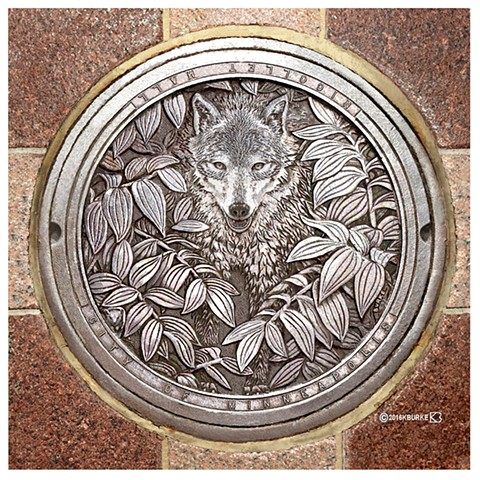 """Hail Minnesota"", Manhole cover art of Nicollet Mall, Minneapolis, MN"