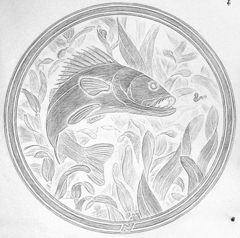 Walleye rubbing from the original carving/pattern for the Minneapolis manhole covers
