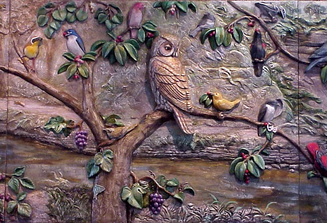 Plaque #5, Owl and the Warbler