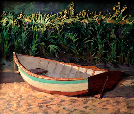 """Skiff at Sunset"""