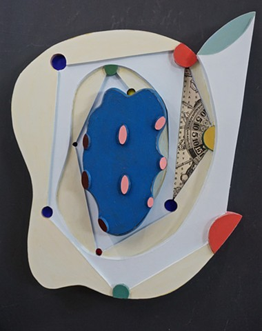 Mixed-media painted relief sculpture