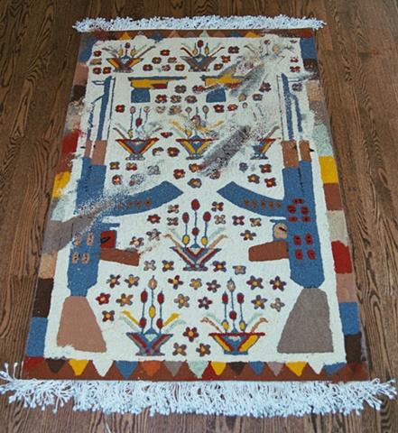 Ersari Turkoman with Poppies, and footprints