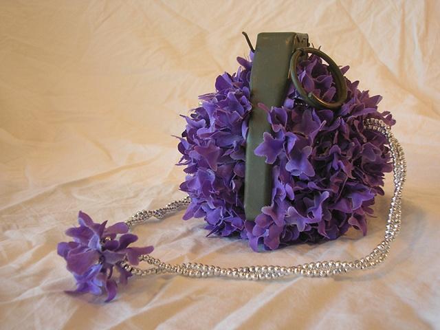 silk flowers, beads, grenade