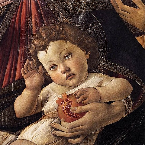 Bottechelli detail:  Madonna of the Pomegranate
