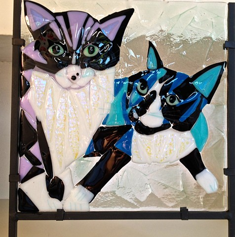 "Double kitty Pet Portrait... ""Miss Kitty & Beamer""..."