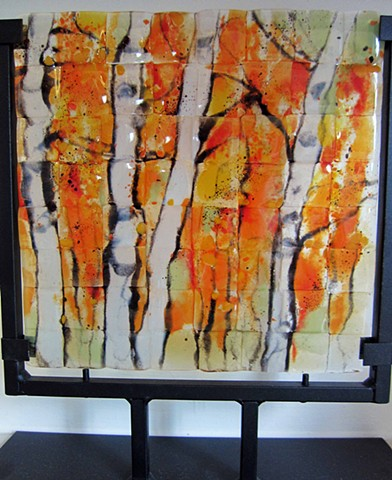 """Fall Colors""  details: pretty birch trees in fused glass--comes in metal stand.   12"" tall x 9"" wide"
