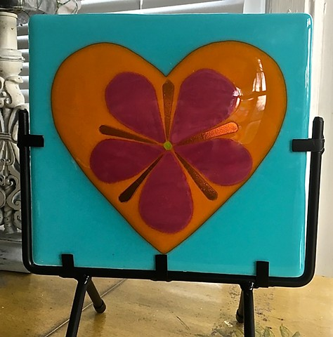 Tropical Heart in metal stand