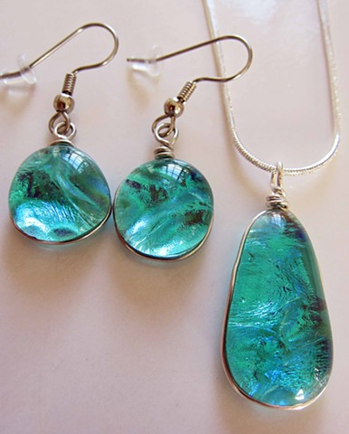 "Watery Aqua Drop Set Details: Necklace is 1"" long and about 5/8"" wide Earrings are about 5/8"" wide"