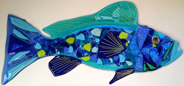"Large Blue Grouper...  details: about 22"" long x 10"" tall"