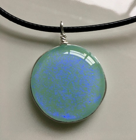 Vintage aqua opaque Sparkle necklace...