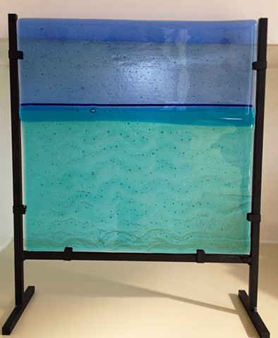 "12"" x 12"" Water Vista in Metal Stand...  details: inside glass is 12"" x 12"" stand makes piece 13"" wide and 15"" tall"