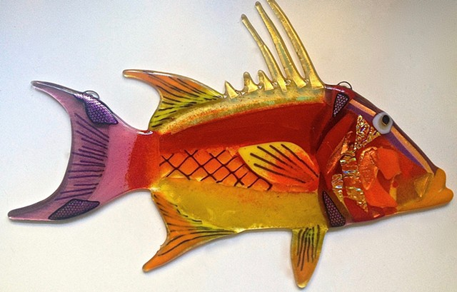 Hogfish Snapper in Reds, oranges and yellows...