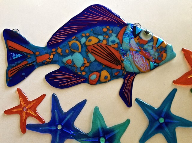 Orange and Blue Medium Grouper fish