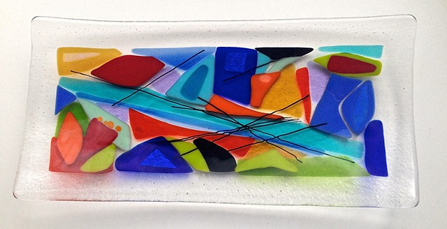 """Colorfalls"" Platter  SOLD (but I can make you one of your  very own using similar colors)"