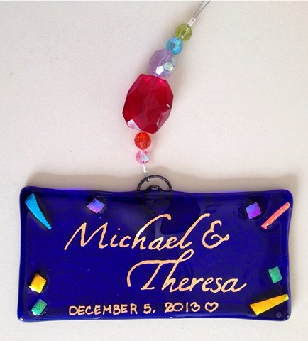 """Remembrance Ornie""...  details: 4"" x 2"", 18k gold writing with Swarovski beads..."