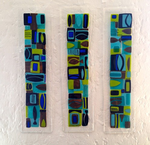 """Mid-Century Modern Totem"" in Lime & Turquoise...  Three Panels, each panel costs $275; each panel is 24"" x 6"""