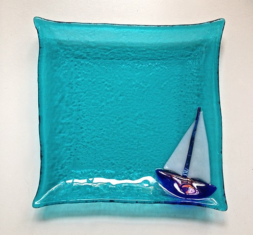 "Sailboat 7"" square plate..."