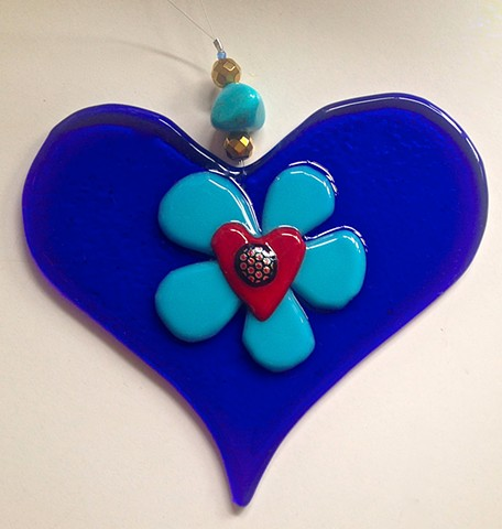 """Blue Flirty Heart"" suncatcher or ornament or everyday inspiration!"