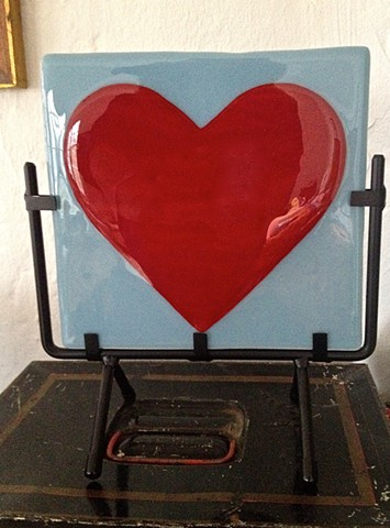 Red Heart on Powder Blue, in Metal Stand