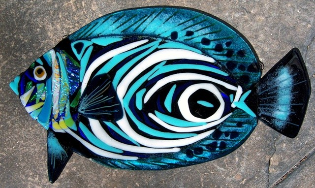 "Juvenile Emperor Angelfish...  details: about 18"" long x 10"" tall"