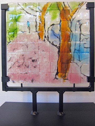 """21st Avenue in Pink...""  Details:  9x11 Glass in wrought iron standing frame  SOLD--but I can make you your own with this same theme  :}"