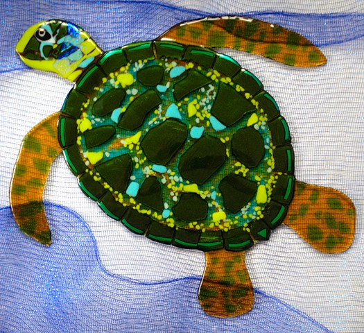 "Large Green Sea Turtle  details: about 25"" long x 23"" tall"