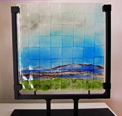 Blue Mountains 8x8 in metal stand  fused glass in sturdy metal stand  SOLD-  but I can came you your own personal one!