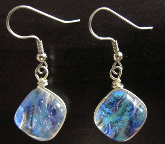 Pillow Earrings - wrapped in silver