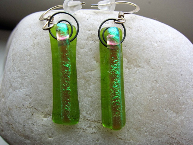 "Lime Green Fizzies  details: fused dichroic glass 1 1/8"" long 1/4"" wide come on hypoallergenic ear wires"