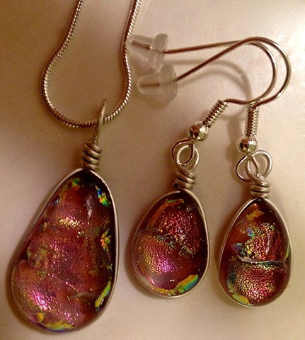 "Small Plum Drop set...  details: Necklace: 1"" x .5"", wrapped in silver-filled wire; Earrings:  3/4"" tall x 7/16"" wide"