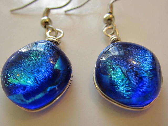 """Into the Blue"" earrings  details: 5/8"" wide x 5/8"" wide hypoallergenic ear wires"