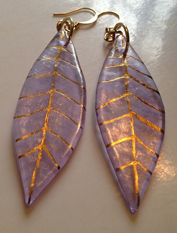 "Lavender Iridescent Leaf Earrings...   details: 2.5"" x .75"""